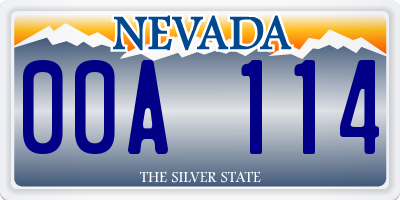 NV license plate 00A114