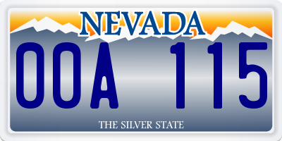 NV license plate 00A115