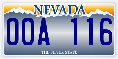 NV license plate 00A116