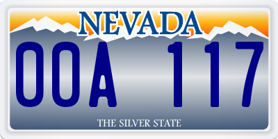 NV license plate 00A117