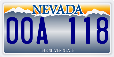 NV license plate 00A118