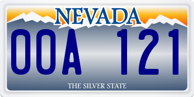 NV license plate 00A121