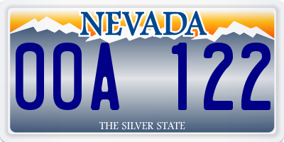 NV license plate 00A122