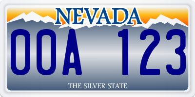 NV license plate 00A123