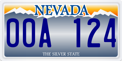 NV license plate 00A124