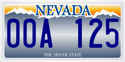 NV license plate 00A125