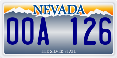 NV license plate 00A126