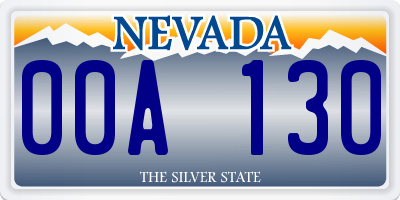 NV license plate 00A130