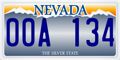 NV license plate 00A134