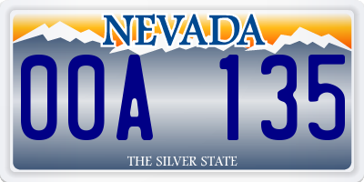 NV license plate 00A135
