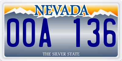 NV license plate 00A136