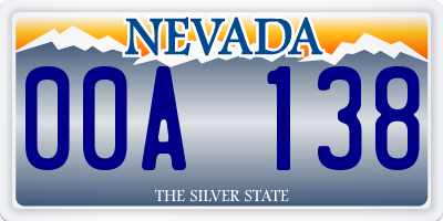 NV license plate 00A138