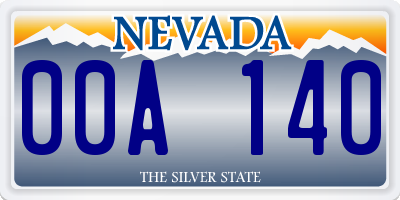 NV license plate 00A140
