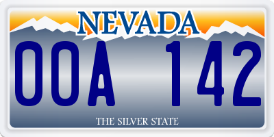 NV license plate 00A142