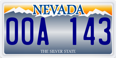 NV license plate 00A143
