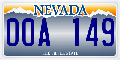 NV license plate 00A149