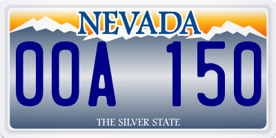 NV license plate 00A150