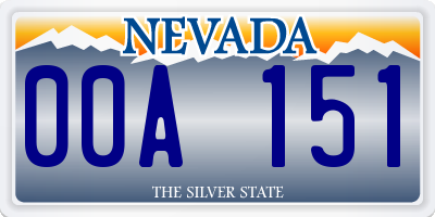 NV license plate 00A151