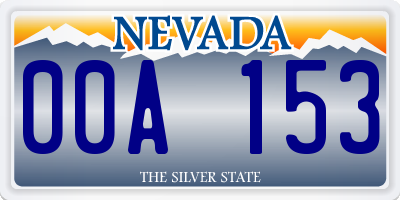 NV license plate 00A153