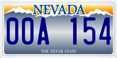 NV license plate 00A154