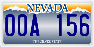 NV license plate 00A156