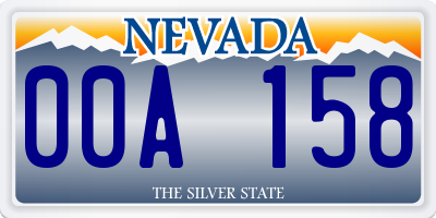 NV license plate 00A158