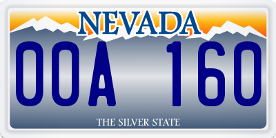 NV license plate 00A160