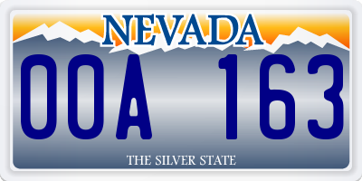 NV license plate 00A163