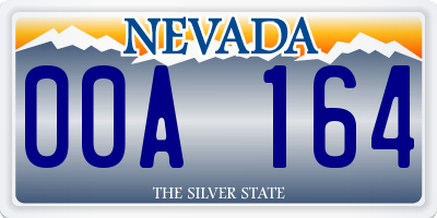 NV license plate 00A164