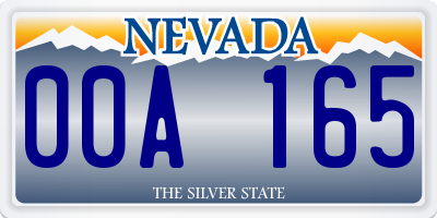 NV license plate 00A165