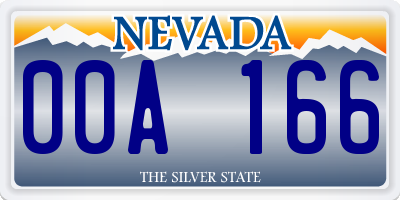 NV license plate 00A166