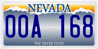 NV license plate 00A168
