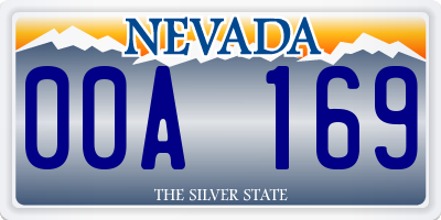 NV license plate 00A169