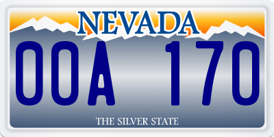 NV license plate 00A170