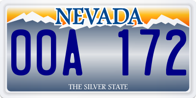 NV license plate 00A172