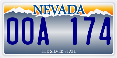 NV license plate 00A174