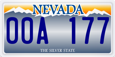 NV license plate 00A177