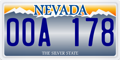 NV license plate 00A178