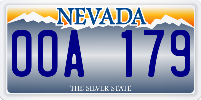 NV license plate 00A179