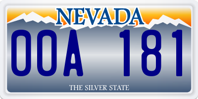 NV license plate 00A181