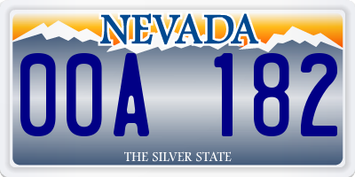NV license plate 00A182