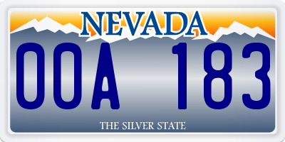 NV license plate 00A183