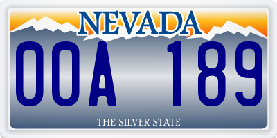 NV license plate 00A189