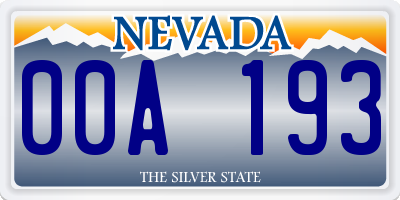 NV license plate 00A193