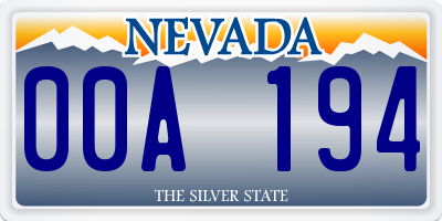 NV license plate 00A194