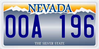 NV license plate 00A196
