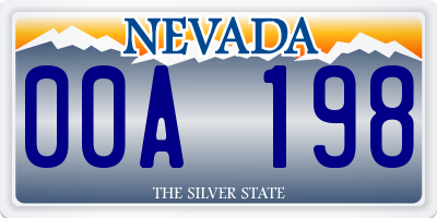 NV license plate 00A198