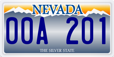 NV license plate 00A201