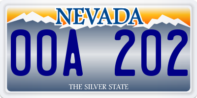 NV license plate 00A202