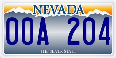 NV license plate 00A204
